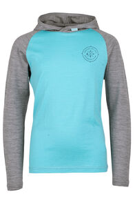 Merino 180 Long Sleeve Hoody - Kids', Blue Curacao, hi-res