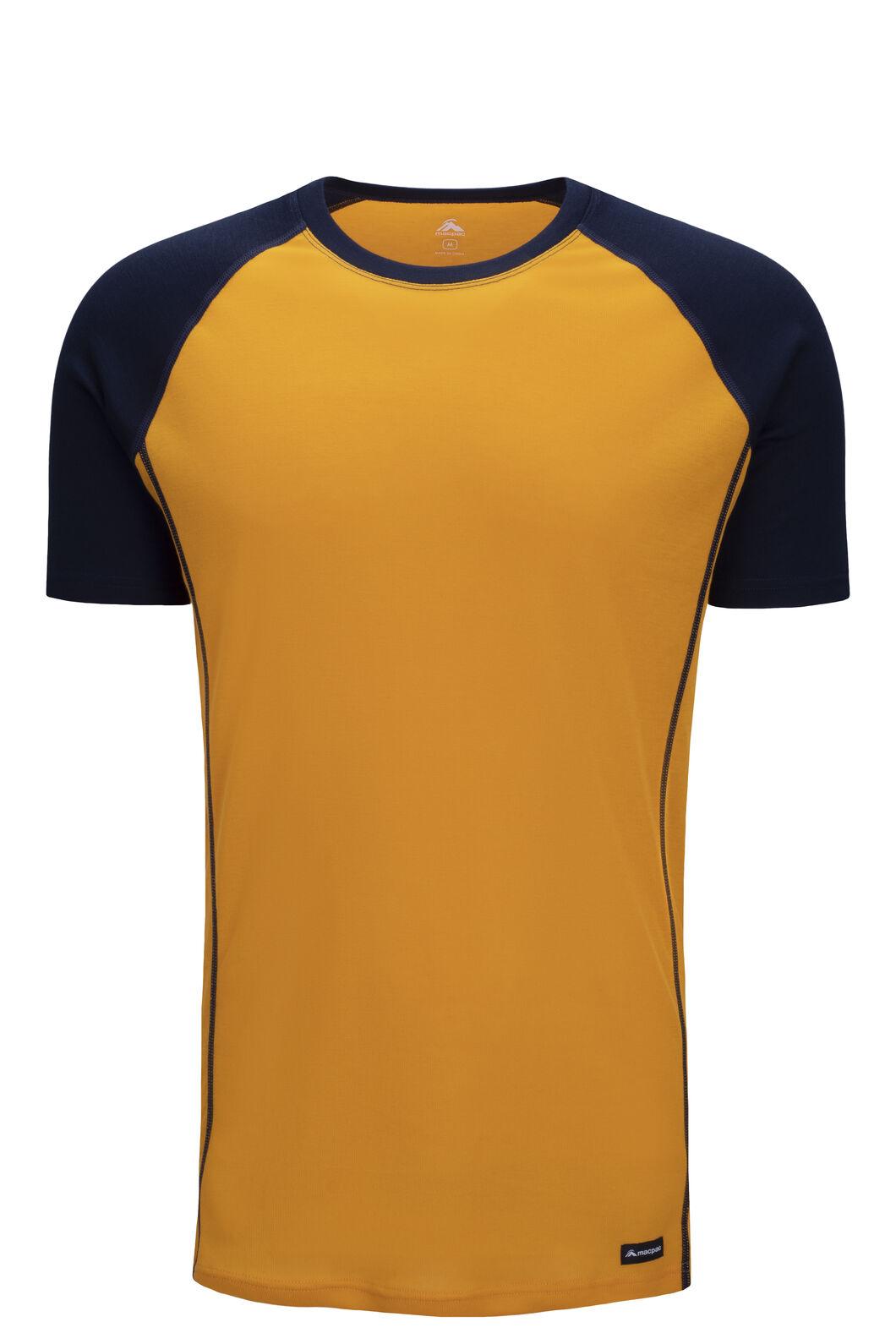 Macpac Geothermal Short Sleeve Tee — Men's, Cadmium Yellow/Total Eclipse, hi-res