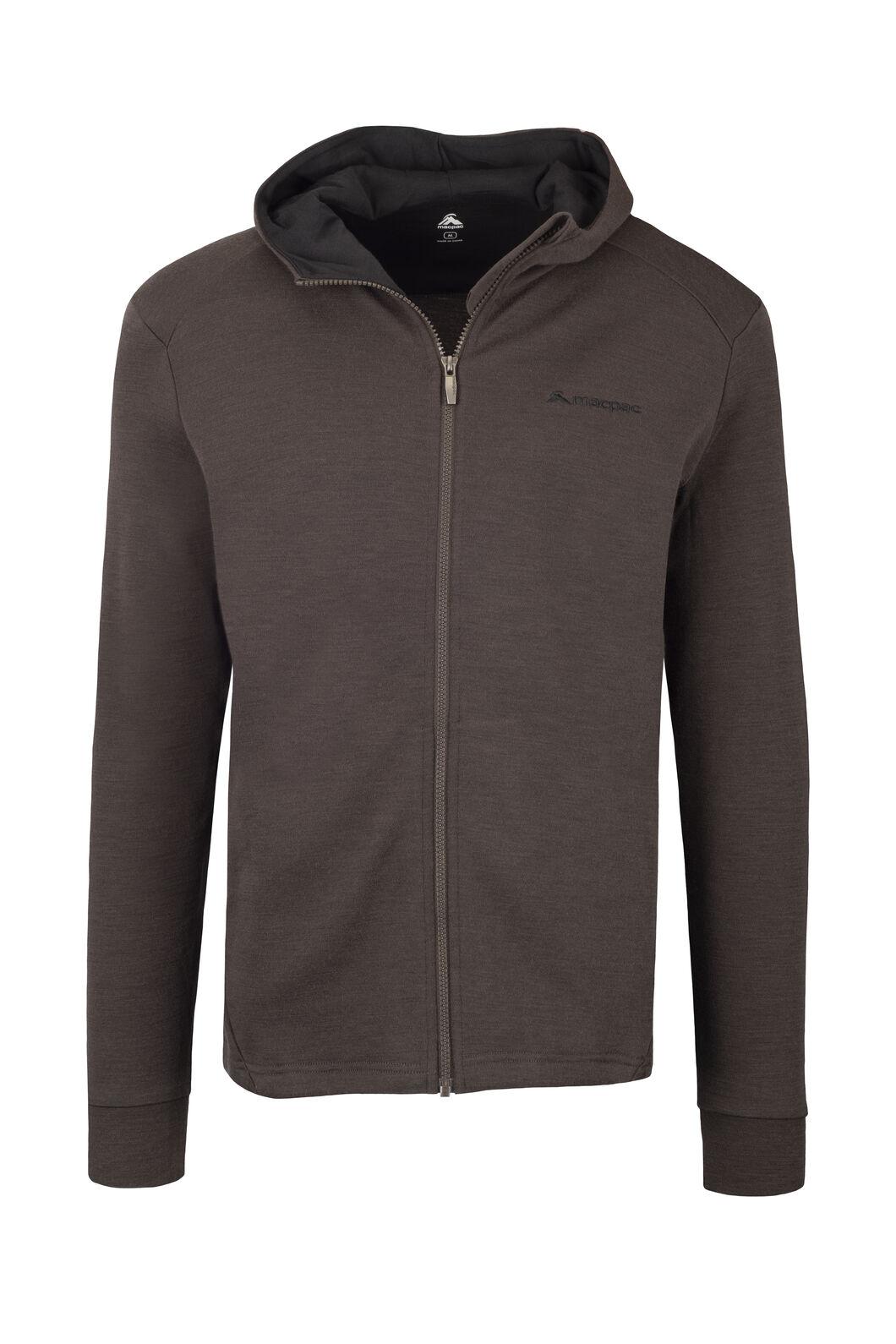 Macpac Ohau 320 Merino Hooded Jacket — Men's, Black Olive, hi-res