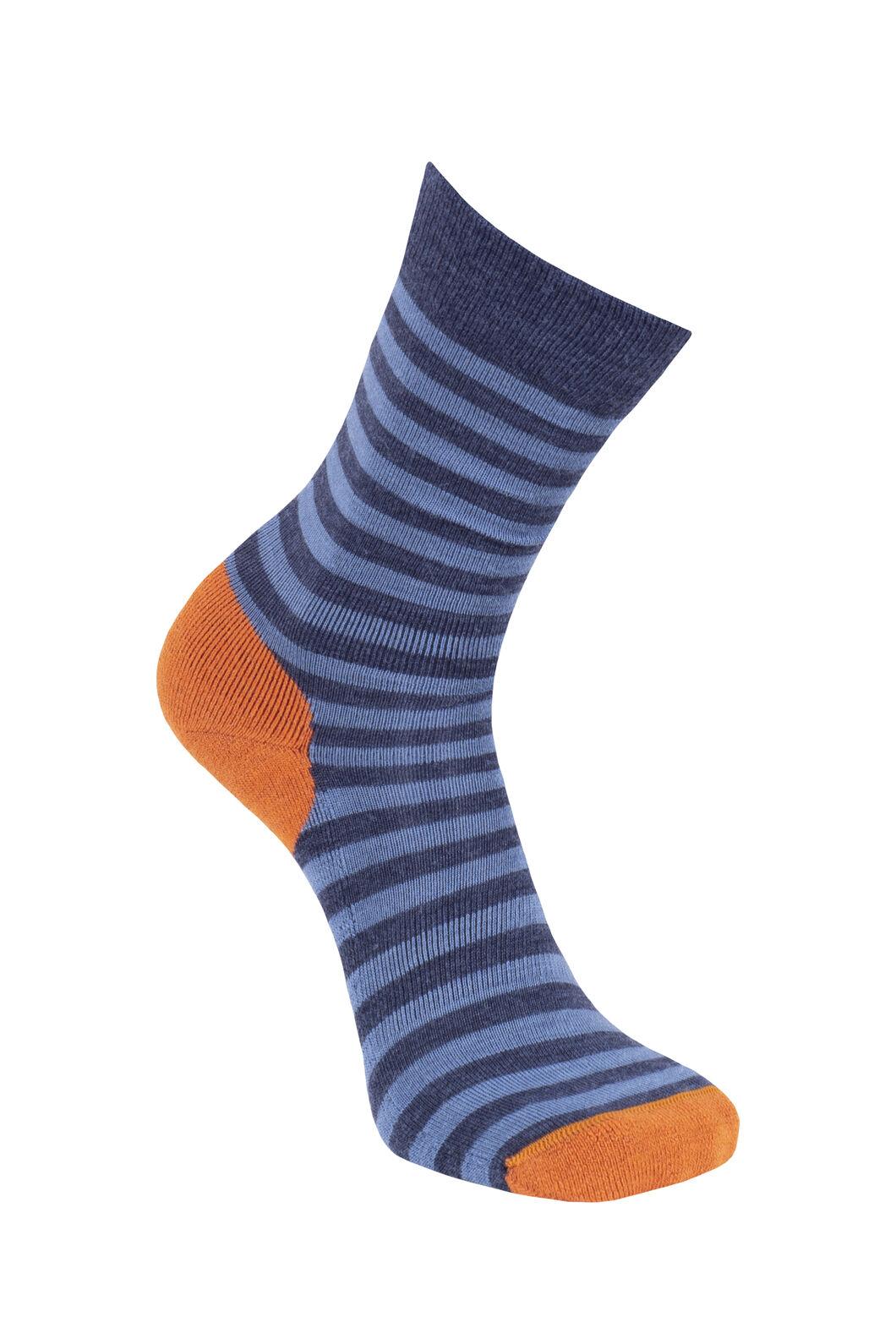 Macpac Merino Blend Footprint Socks, Black Iris/Orange, hi-res