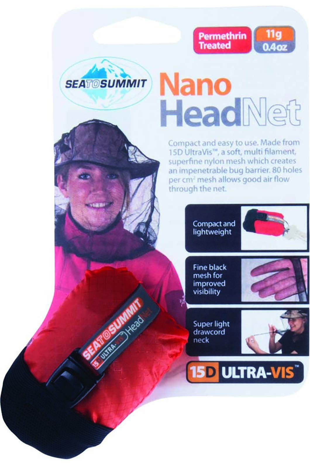 Sea to Summit Nano Permethrin Treated Mosquito Head net, None, hi-res