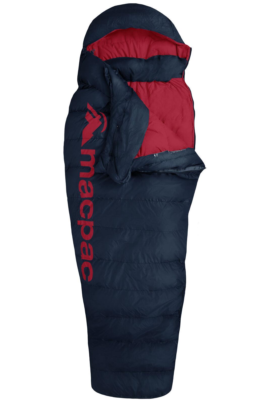 Macpac Overland 400 Women's Down Sleeping Bag, Black Iris/Flame Scarlet, hi-res