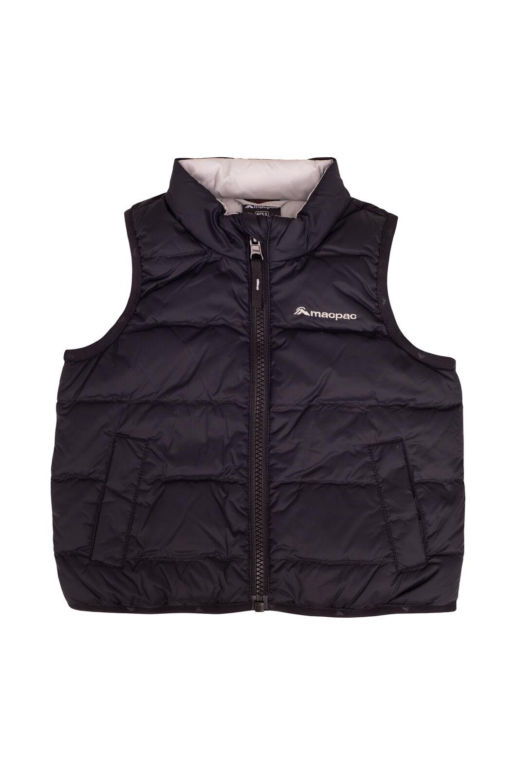 Macpac Baby Atom Down Vest, Black, hi-res