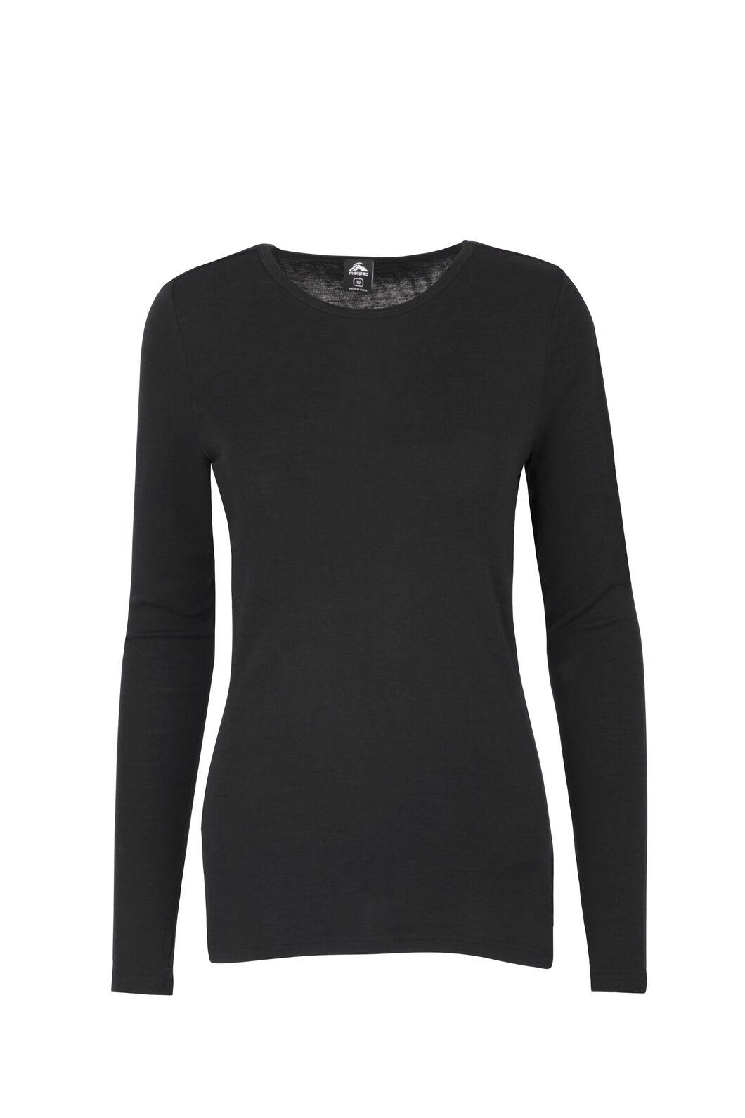 Macpac 220 Merino Long Sleeve Top — Women's, Black, hi-res