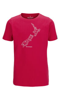 Macpac NZ Map Fairtrade Organic Cotton Tee — Kids', Raspberry Wine, hi-res