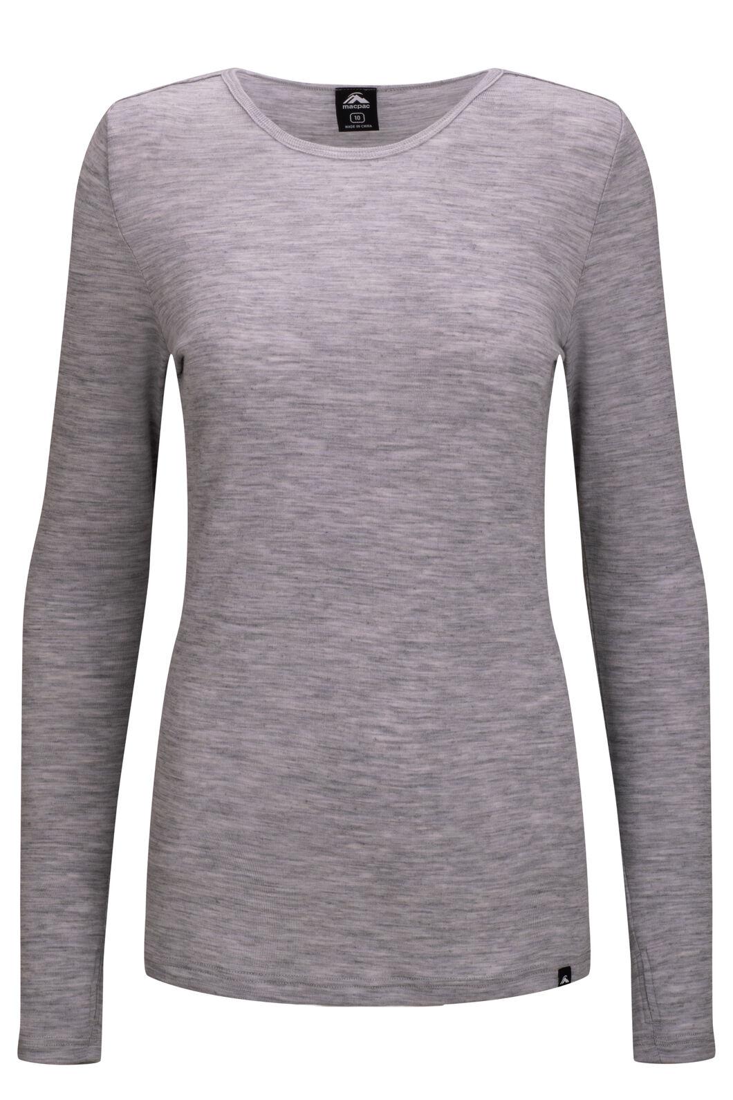 Macpac Women's 220 Merino Long Sleeve Top, Light Grey Marle, hi-res