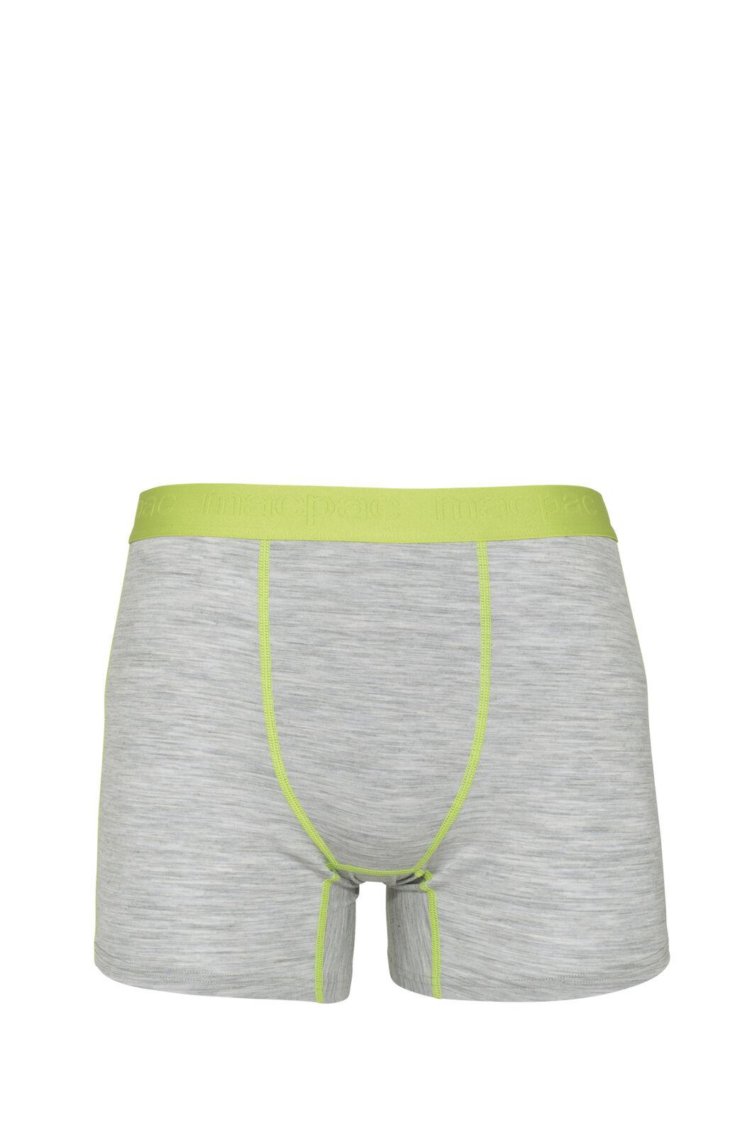 Macpac 180 Merino Boxers — Men's, Light Grey Marle/Macaw Green, hi-res