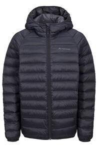 Macpac Uber Light Hooded Down Jacket — Kids', Black, hi-res