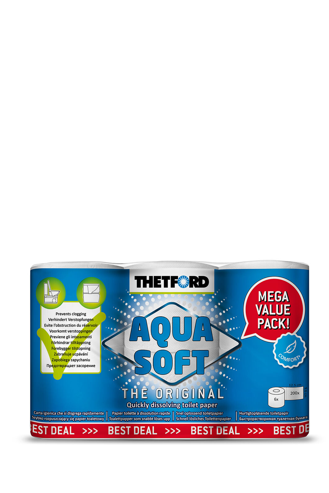 Thetford Aqua-Soft® Toilet Tissue — 6 Roll Pack, None, hi-res