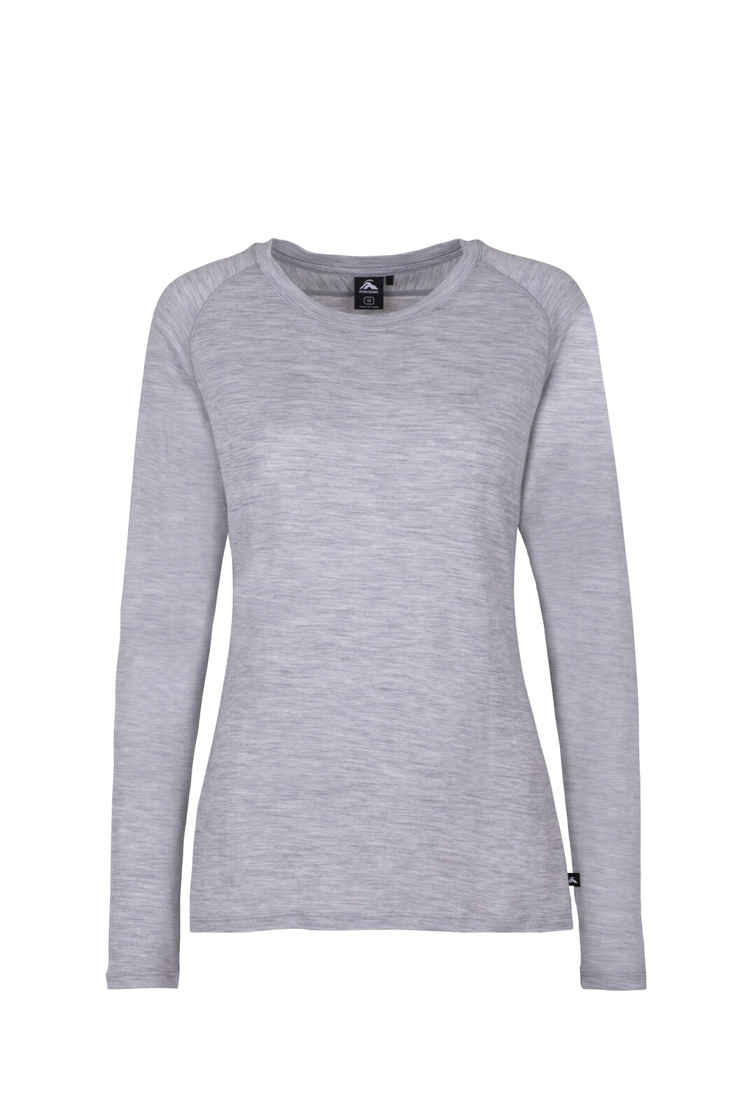 Macpac Meadow Long Sleeve Merino - Women's, Light Grey Marle, hi-res