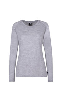 Macpac Meadow Long Sleeve Merino - Women's, Light Grey Marle, hi-res