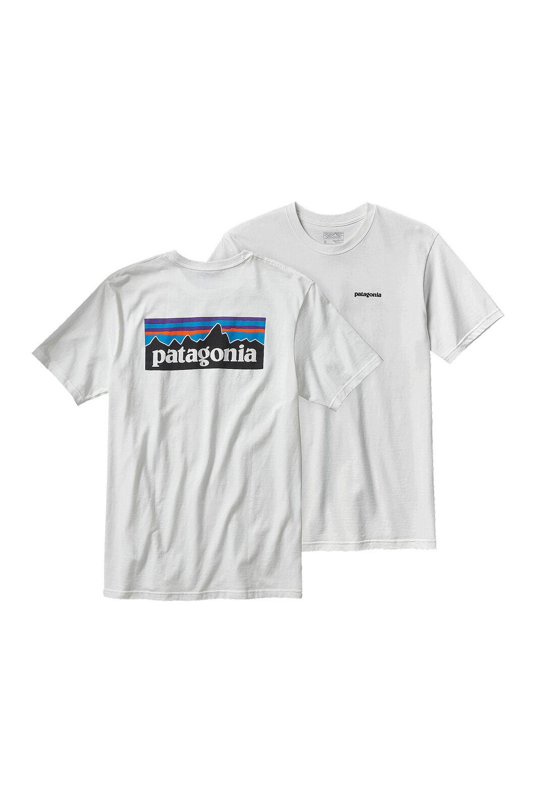 Patagonia Men's P-6 Logo Long Sleeve Tee Gravel, White, hi-res