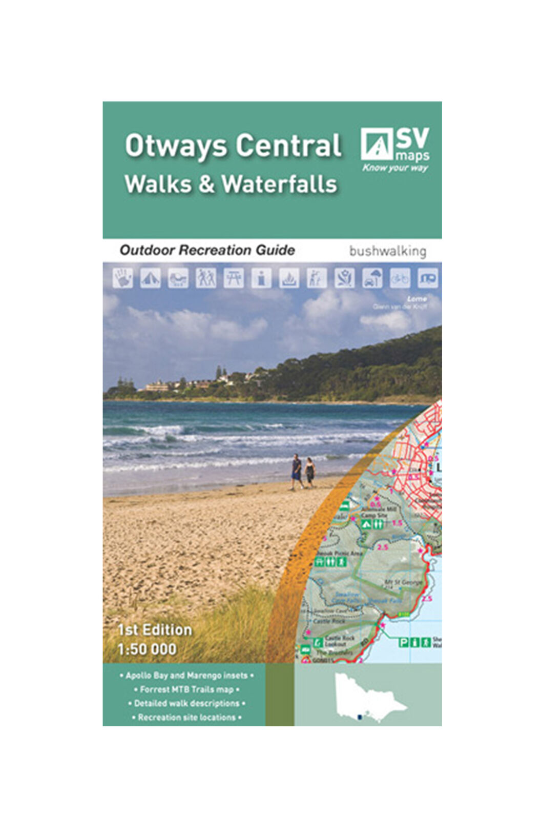 Hema Otways Central Walks and Waterfalls Map, None, hi-res