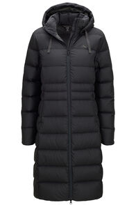 Macpac Women's Aurora Long Hooded Down Coat, Black, hi-res