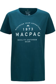 Macpac Graphic Fairtrade Organic Cotton Tee — Women's, Reflecting Pond, hi-res