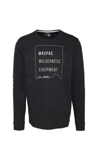 Macpac Wilderness Equipment Fairtrade Organic Cotton Long Sleeve Tee — Men's, Black, hi-res
