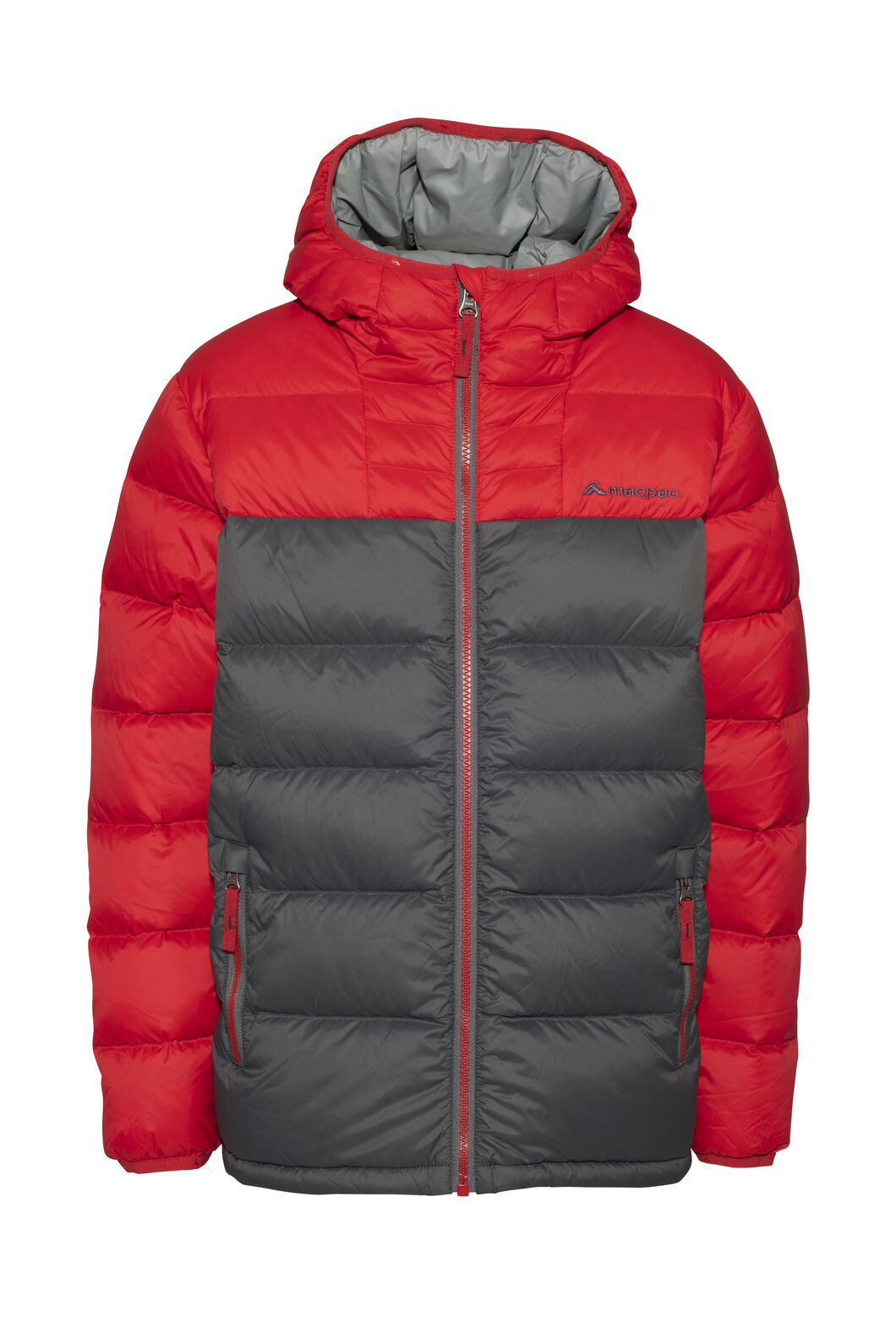 Macpac Atom Hooded Down Jacket — Kids', Samba/Iron Gate, hi-res