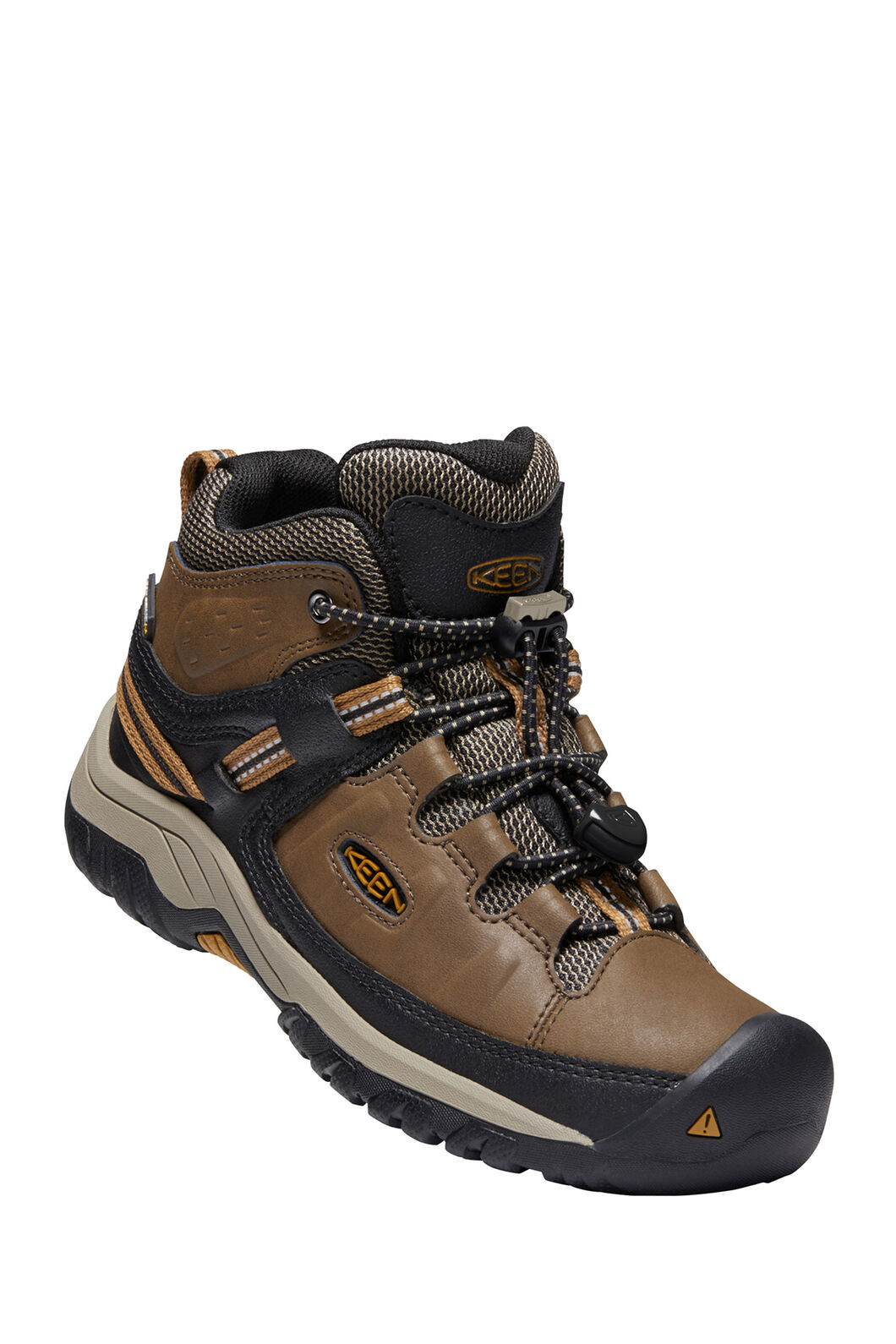 KEEN Targhee WP Hiking Boots — Youth, Dark Earth/Golden Brown, hi-res
