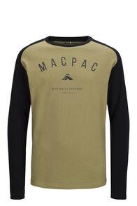 Macpac Graphic Fairtrade Organic Cotton Long Sleeve Tee — Kids', Boa/Black, hi-res