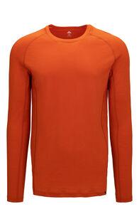 Macpac Men's 150 Merino Long Sleeve Top, Orange Flame, hi-res