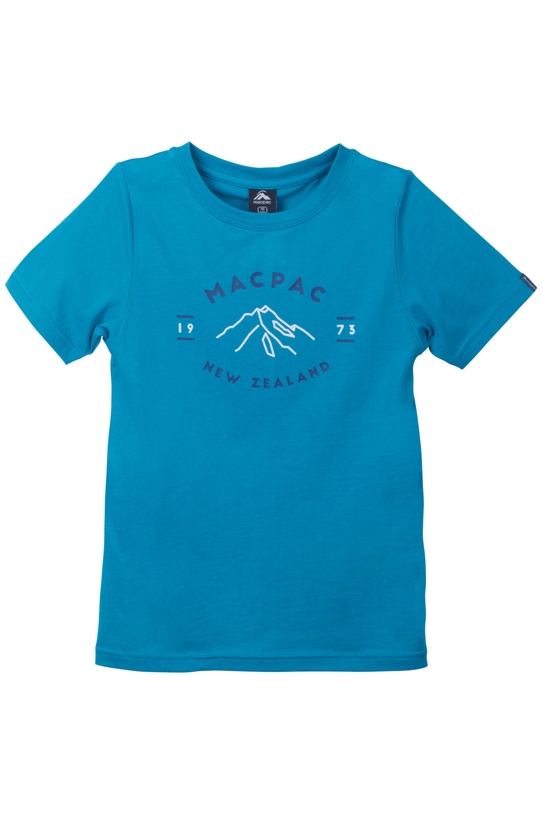 Macpac Mountain Print Organic Cotton Tee - Kids', Enamel Blue, hi-res