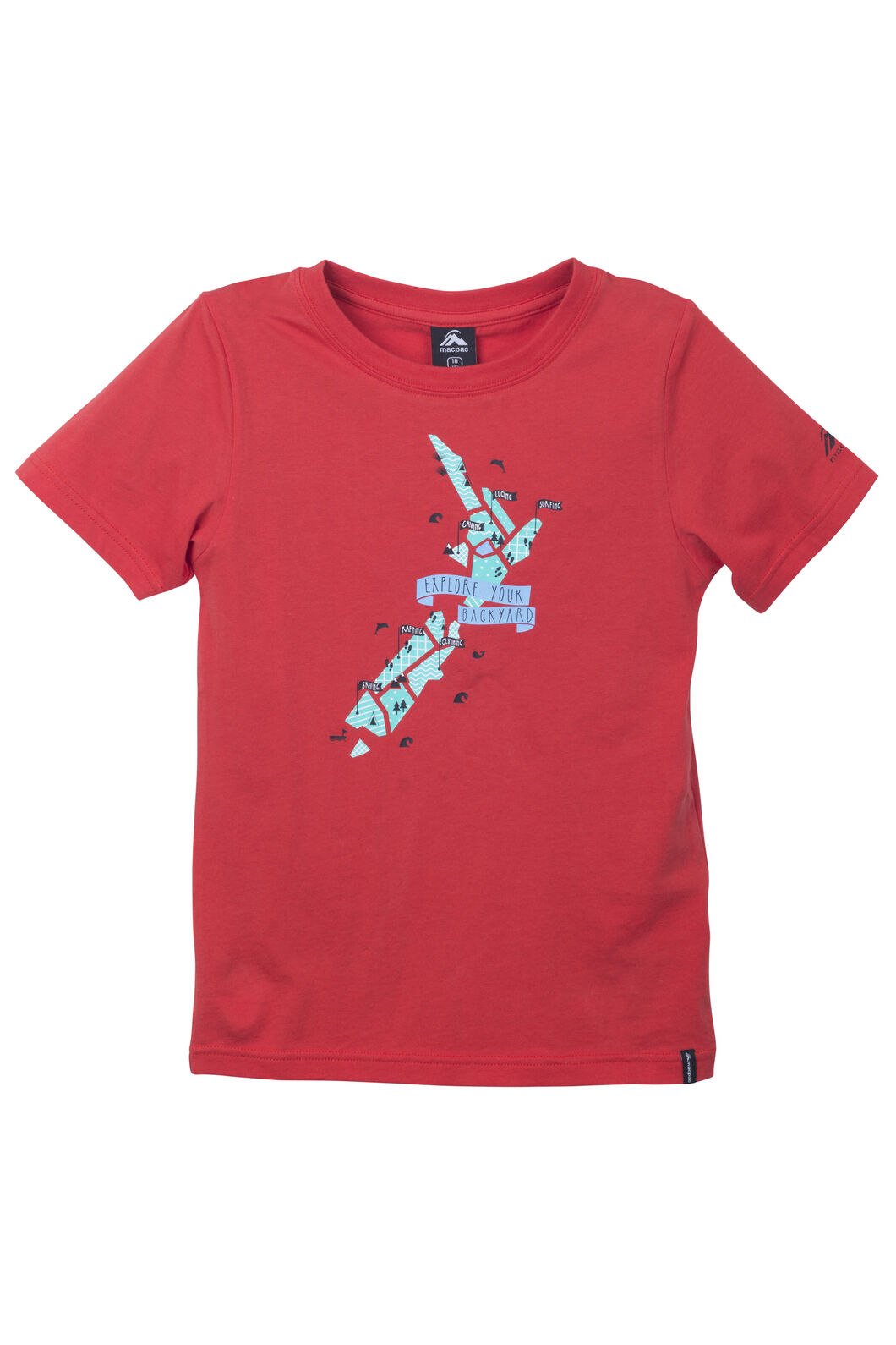 NZ Adventure Organic Cotton Tee - Kids', Molton Lava, hi-res