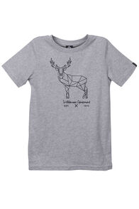 Stag Organic Cotton Tee - Kids', Light Grey Marle, hi-res