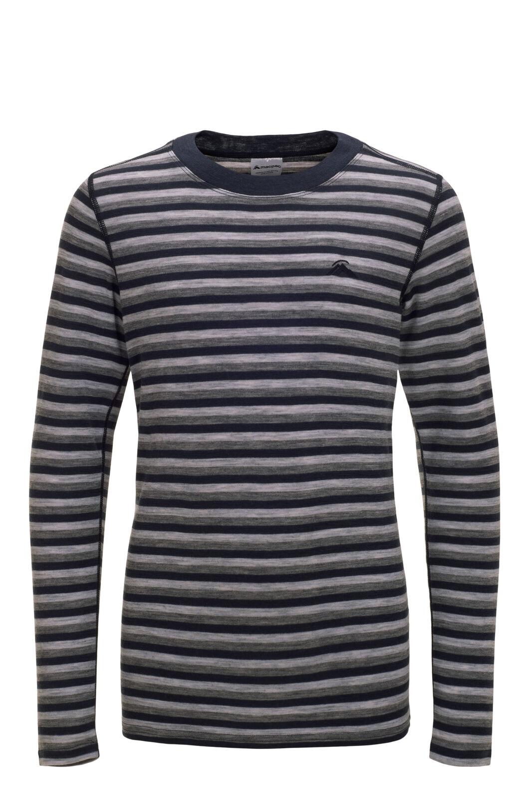 Macpac Kids' 220 Merino Long Sleeve Top, Grey/Navy Stripe, hi-res