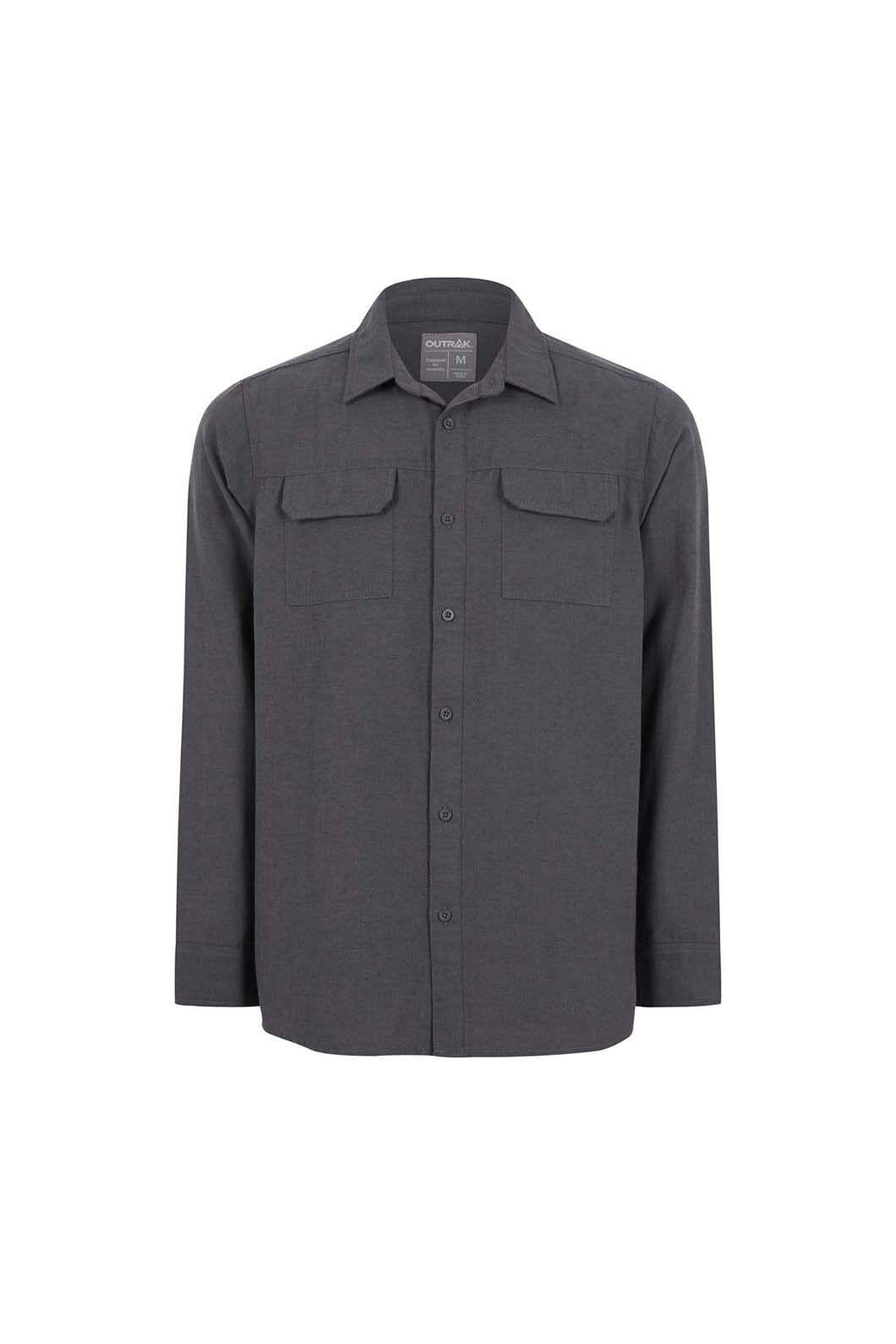 Outrak Men's Slub Long Sleeve Shirt, Grey Heather, hi-res