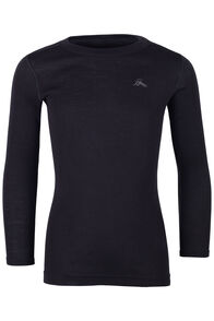 Macpac 220 Merino Long Sleeve Top — Kids', Black, hi-res