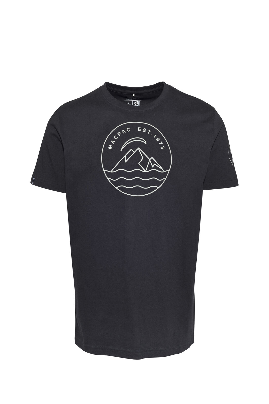 Macpac EST 1973 Fairtrade Organic Cotton Tee — Men's, Black/Vetiver, hi-res
