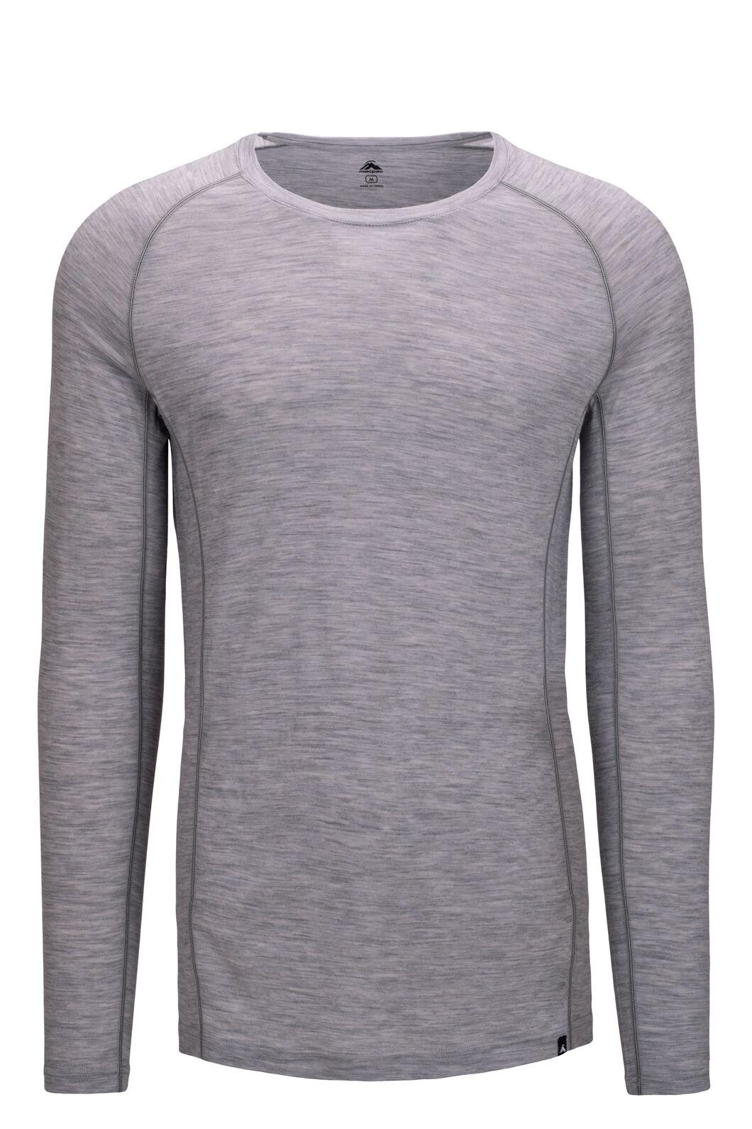 Macpac Men's 150 Merino Long Sleeve Top, Light Grey Marle, hi-res