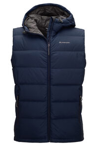 Macpac Halo Hooded Down Vest — Men's, Black Iris, hi-res
