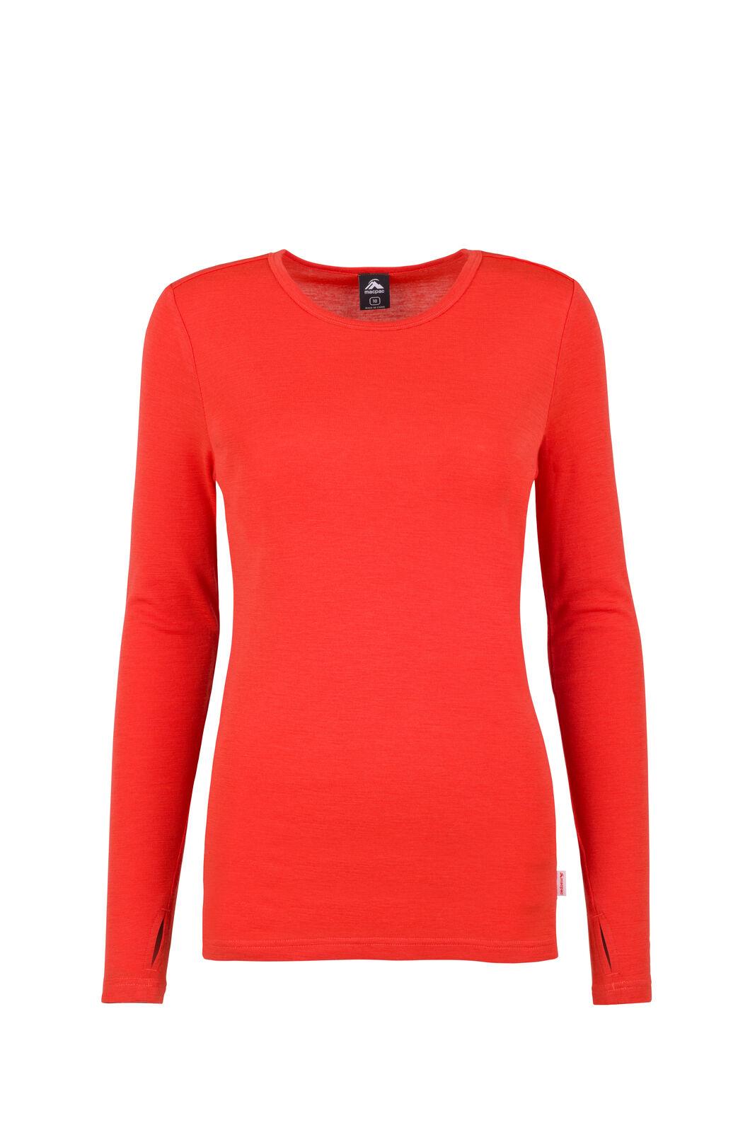 Macpac 220 Merino Top - Women's, Mandarin Red, hi-res