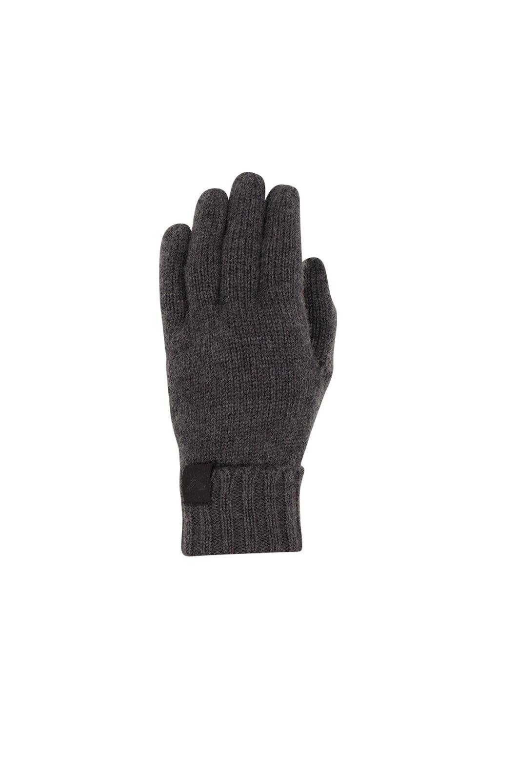 Macpac Merino Knit Gloves V2, Charcoal Melange, hi-res