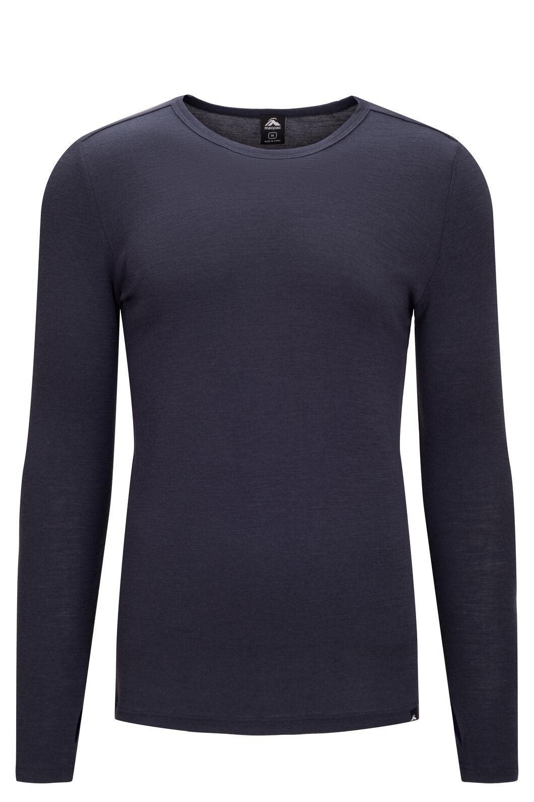 Macpac Men's 220 Merino Long Sleeve Top, BLUE NIGHTS, hi-res