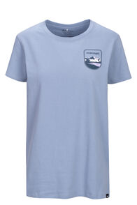 Macpac Patch Fairtrade Organic Cotton Tee — Women's, Dusty Blue, hi-res