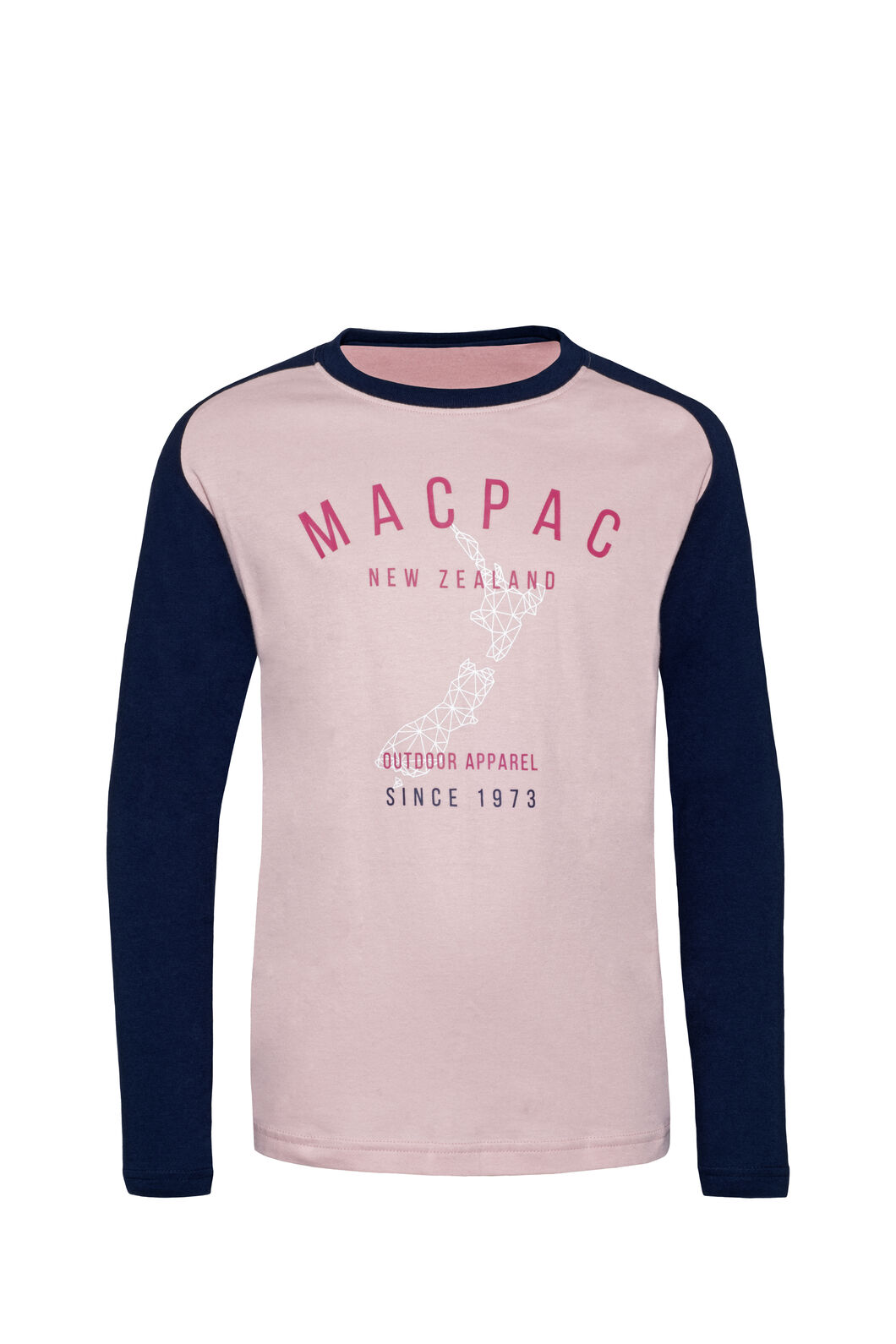 Macpac Outdoor Fairtrade Organic Cotton Long Sleeve Tee — Kids', Silver Pink, hi-res