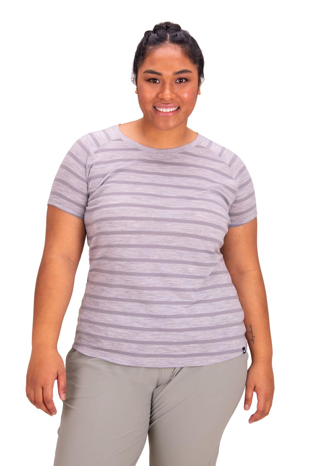 Macpac Women's Ella Short Sleeve Merino Tee, Light Grey Stripe, hi-res