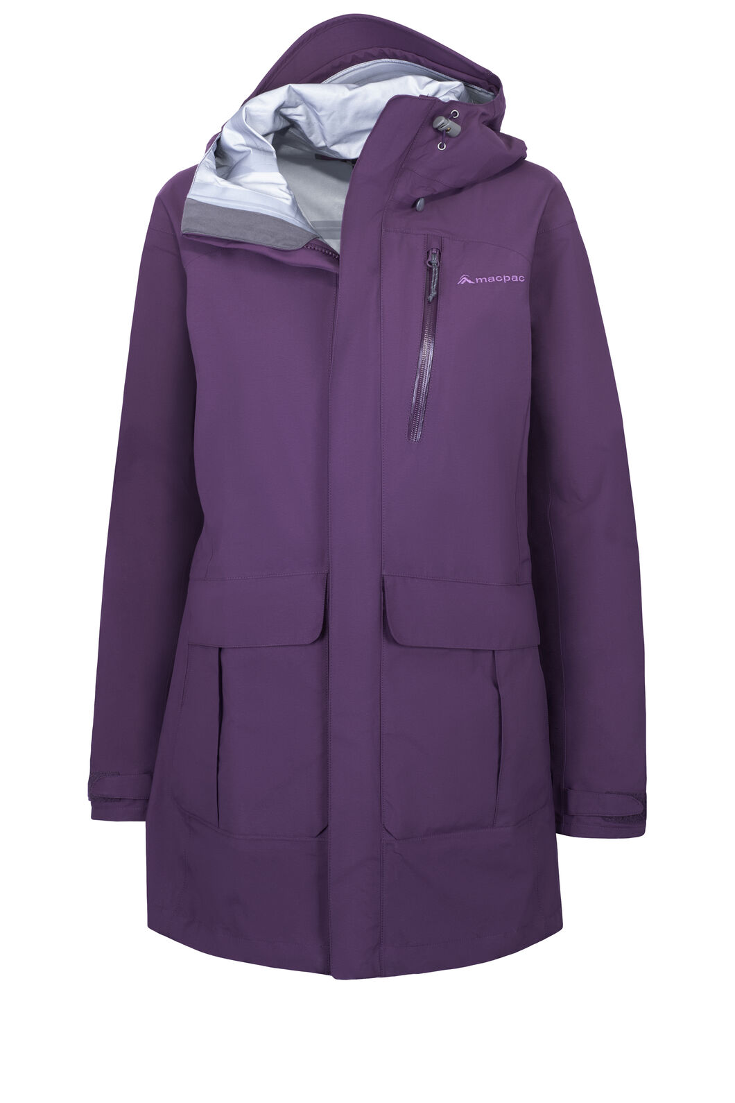 Macpac Copland Long Rain Jacket — Women's, Blackberry Wine, hi-res