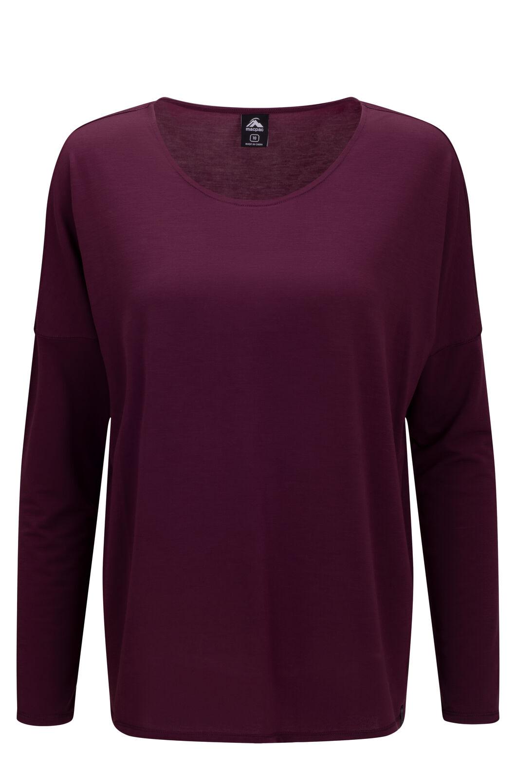 Macpac Women's Eva Long Sleeve Tee, Grape Wine, hi-res
