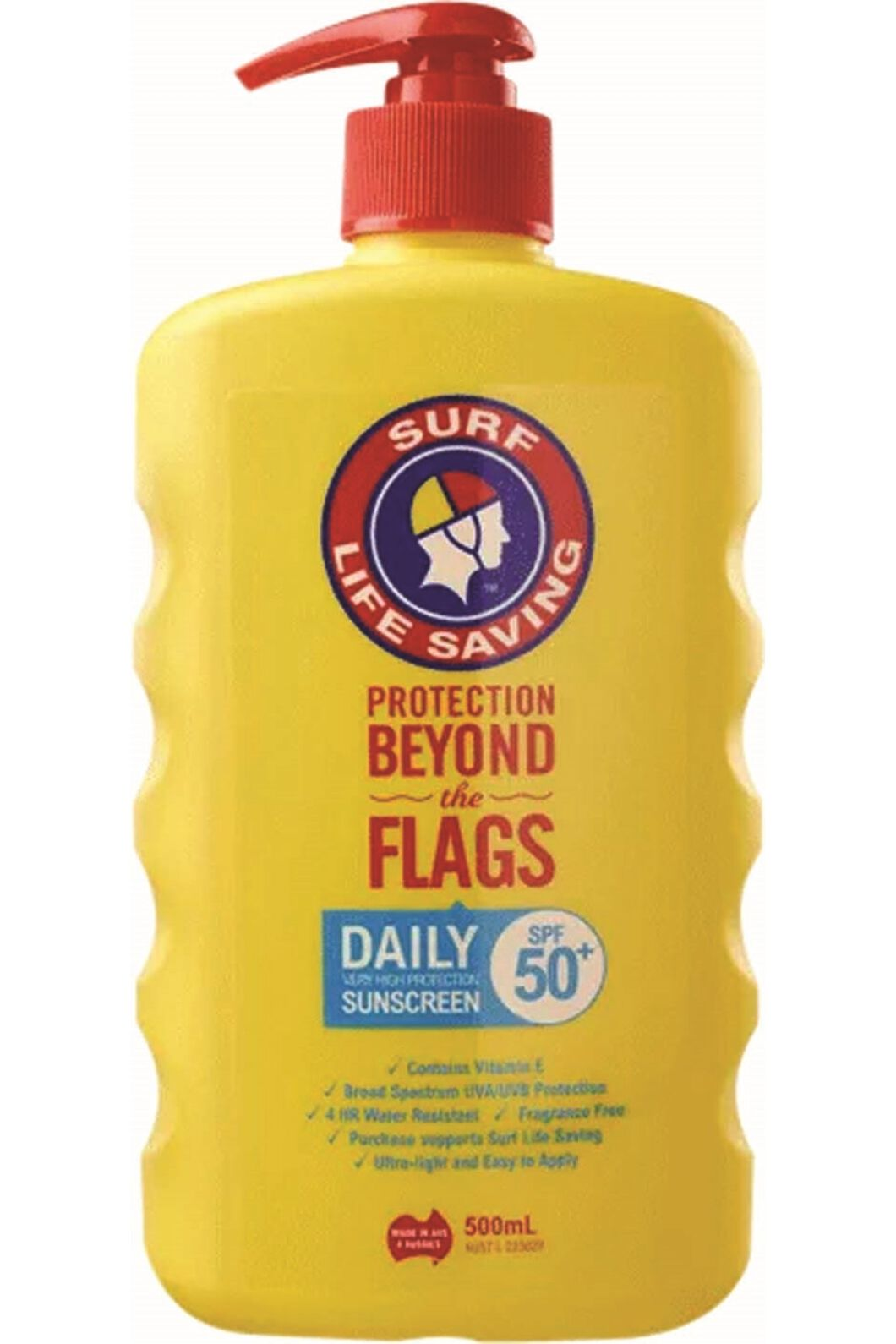 Surf Life Saving 500mL SPF50+ Daily Pump Sunscreen, None, hi-res