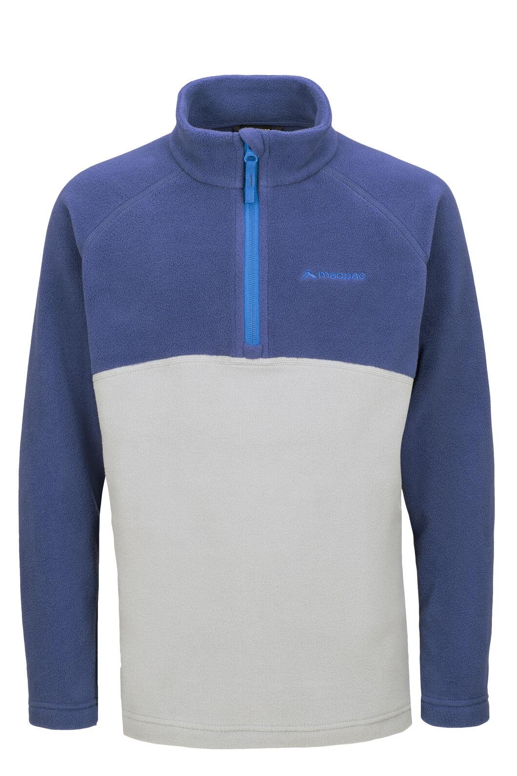 Macpac Tui Polartec® Fleece Pullover — Kids', Blueprint/Monument, hi-res
