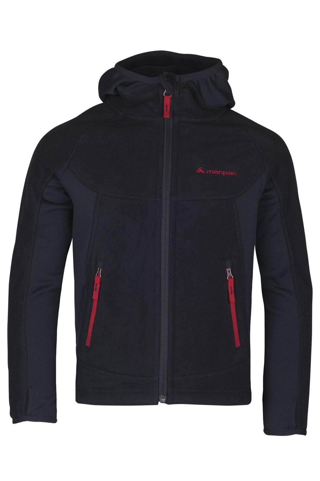 Mountain Hooded Pontetorto® Fleece Jacket - Kids', Black/Barbados, hi-res