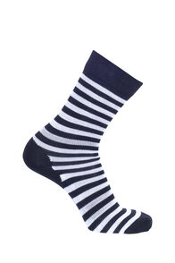 Macpac Merino Blend Footprint Socks, Black Stripe, hi-res