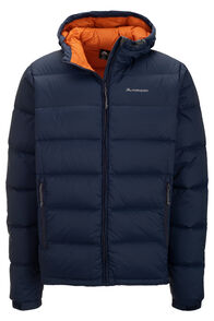Macpac Halo Hooded Down Jacket — Men's, Black Iris/Orange Flame, hi-res