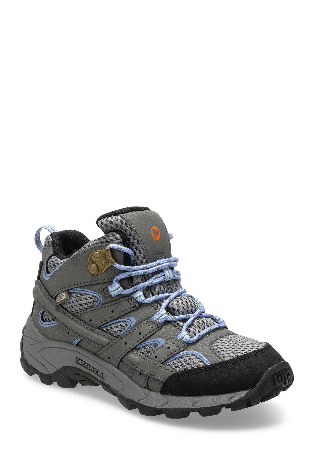 Merrell Moab 2 Waterproof Hiking Boots — Kids', Grey/Perwinkle, hi-res