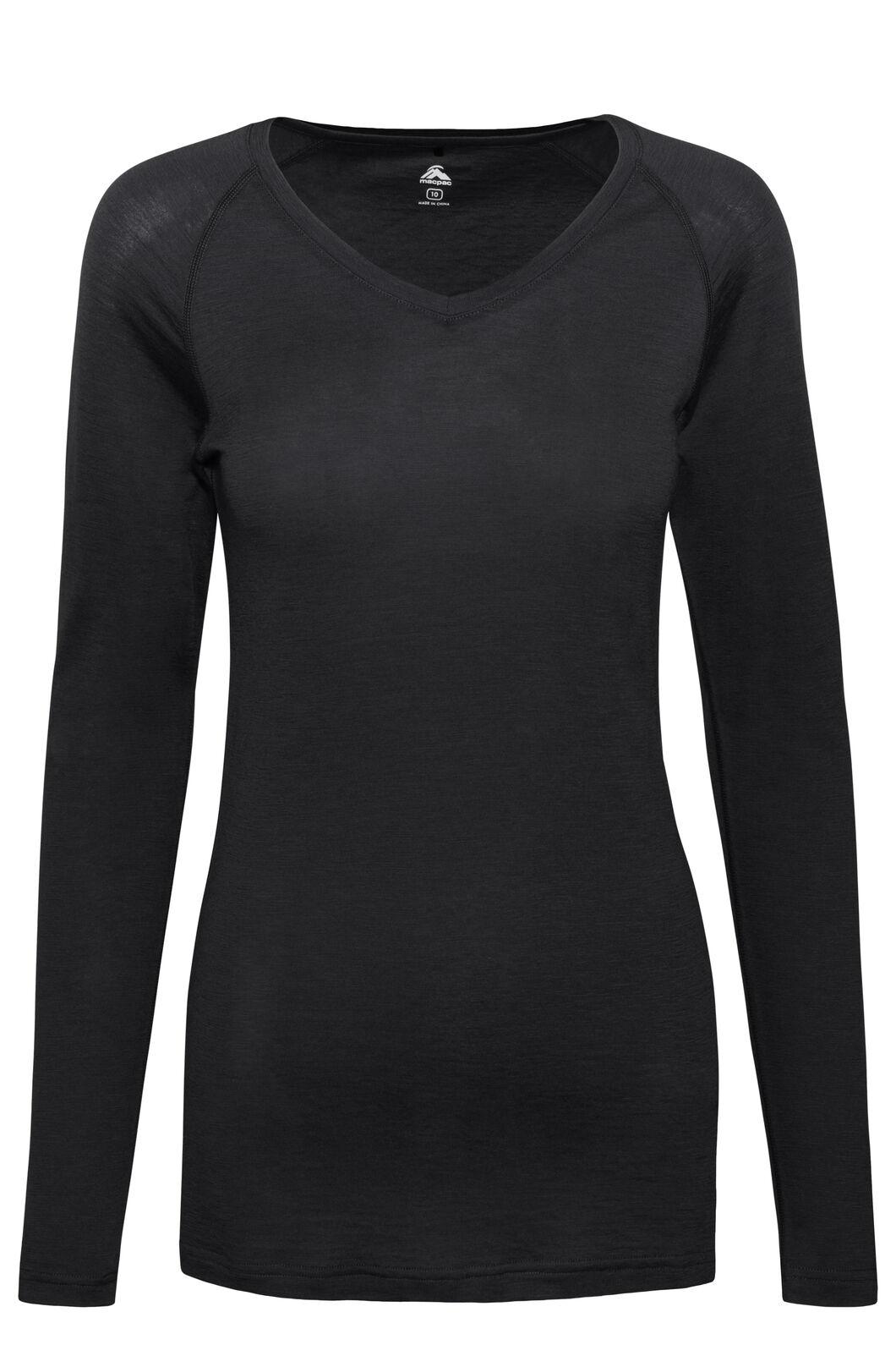 Macpac Women's 150 Merino V-Neck Top, Black, hi-res