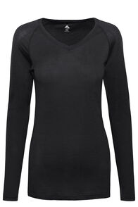 Macpac 150 Merino V-Neck Top — Women's, Black, hi-res