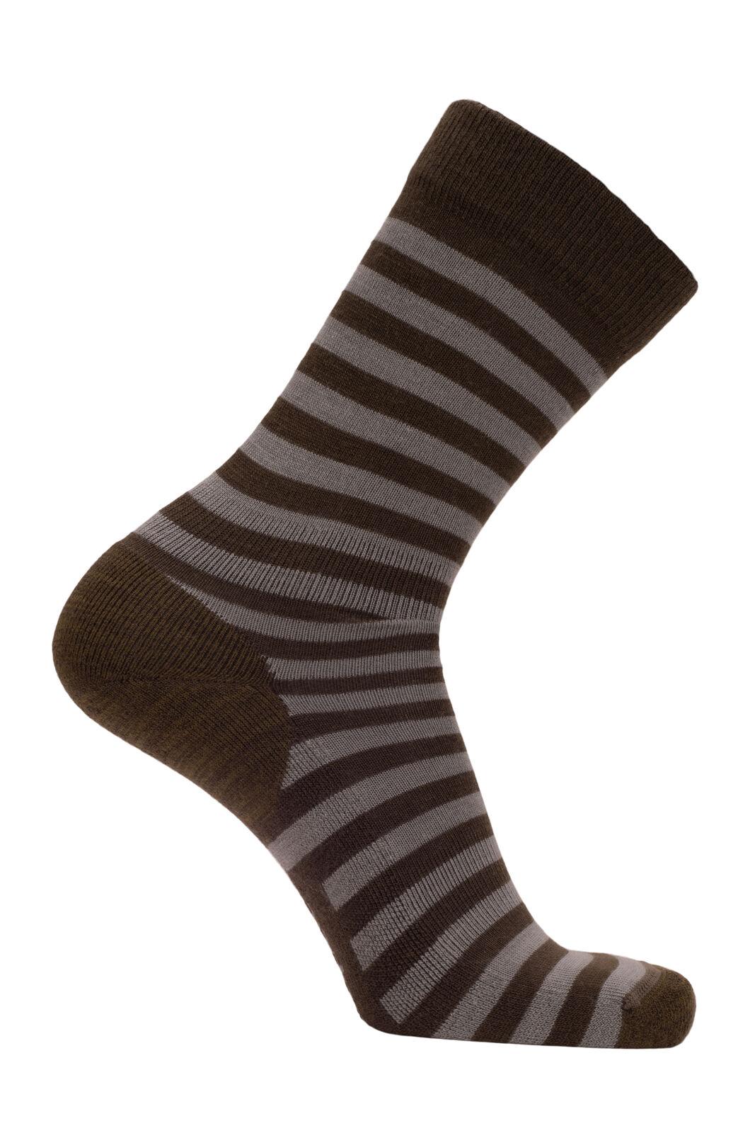 Macpac Merino Blend Footprint Socks, Olive Night Stripe, hi-res